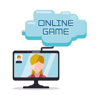 Online-spiel computer mädchen mann character wolke