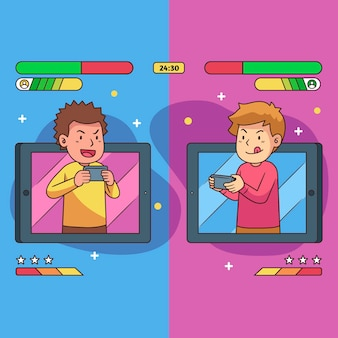Online-spiele illustration konzept