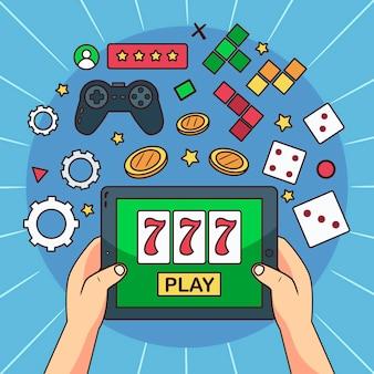 Online-spiele illustrierten design