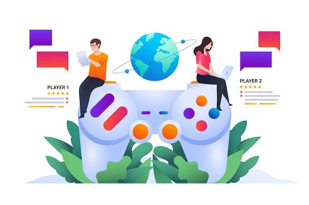 Online-spiele konzept illustration