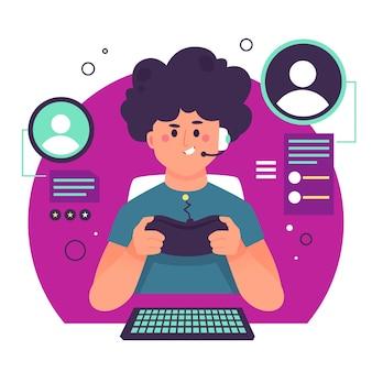 Online-spiele-konzeptillustration mit jungen