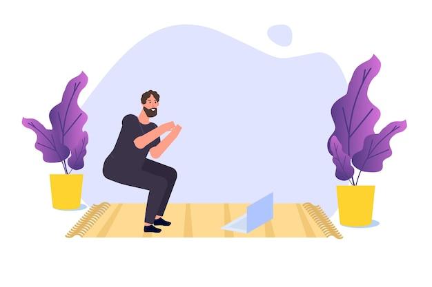 Online-sport-tutorial, streaming-konzept für yoga-studios. zu hause trainieren. vektor-illustration