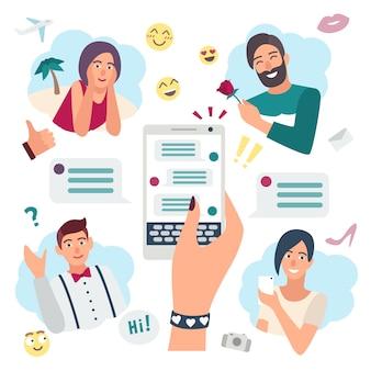 Online sprechendes konzept. mit freunden chatten, freund. hand mit smartphone. bunte flache illustration.