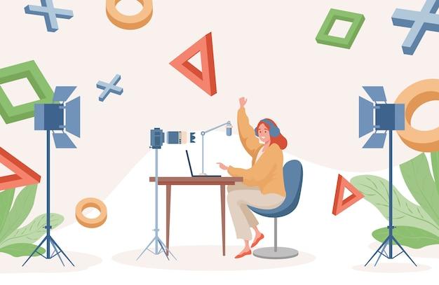 Online streaming flache illustration. frau, die videospiele auf laptop spielt und videoaufzeichnungen macht.
