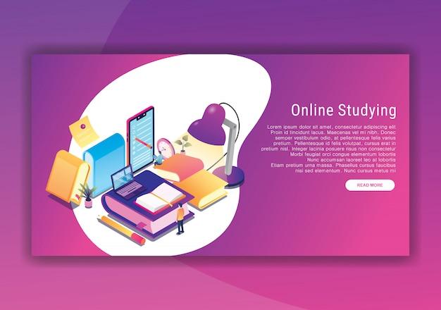 Online studieren isometrische designvorlage