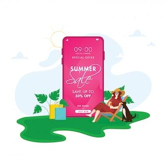 Online summer sale app in smartphone mit 50% rabatt angebot, cartoon hund, junges mädchen trinken alkoholfreie getränke auf klappstuhl.
