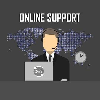 Online-support-konzept-vektor-illustration. mann mit kopfhörer und laptop im kartenhintergrund.