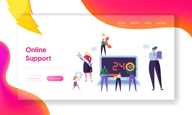Online-support-landingpage des kunden-helpdesk-service.