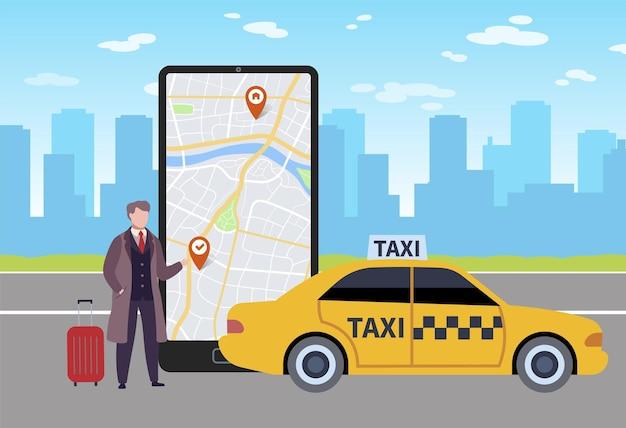 Online-taxi. mann ruft taxi durch anwendung in smartphone, karte auf telefonbildschirm und geschäftsmann mit gepäck neben gelbem auto im flughafen auf stadtlandschaft flaches vektorkarikaturkonzept