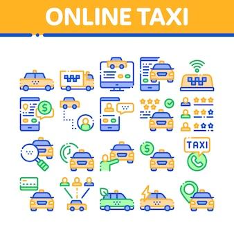 Online taxi sammlung elemente icons set
