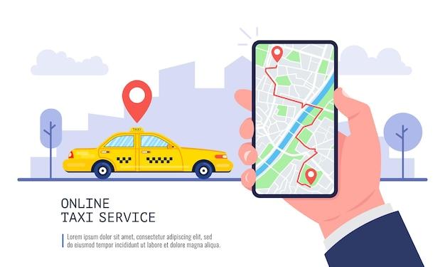 Online-taxi-service-konzept. gelbes taxi und hand, die smartphone mit taxianwendung und stadtlandschaft halten.