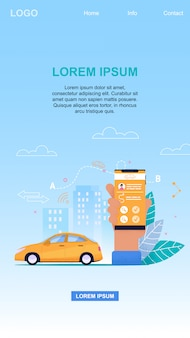 Online taxi service mobile app technologie und fahrzeugbuchung für den passagiertransfer