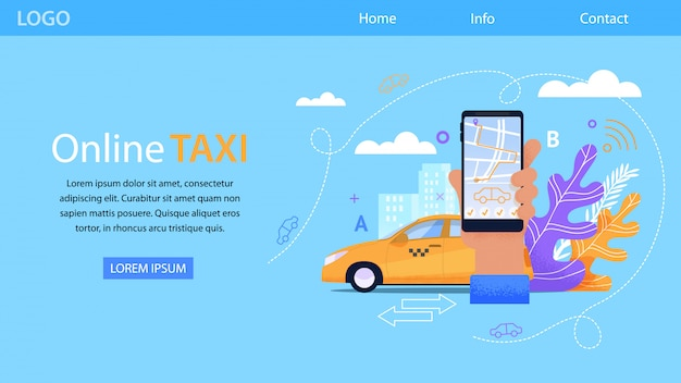 Online taxi service und gelbes taxi