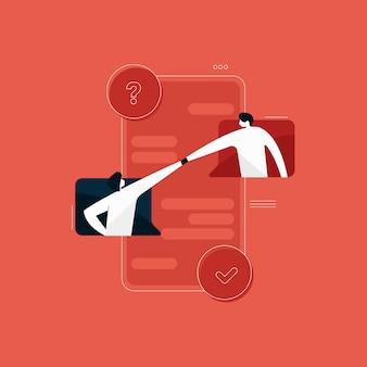 Online-teamarbeit, online-kommunikation, geschäftsnetzwerkkommunikation, arbeit von zu hause aus, arbeit von überall