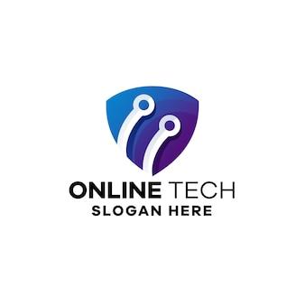 Online-technologie-farbverlauf-logo-vorlage