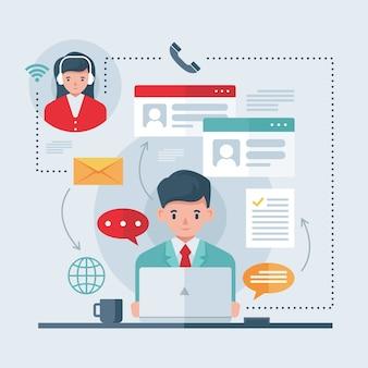Online-telearbeitskonzept
