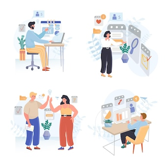Online-test flache design-illustrationen gesetzt