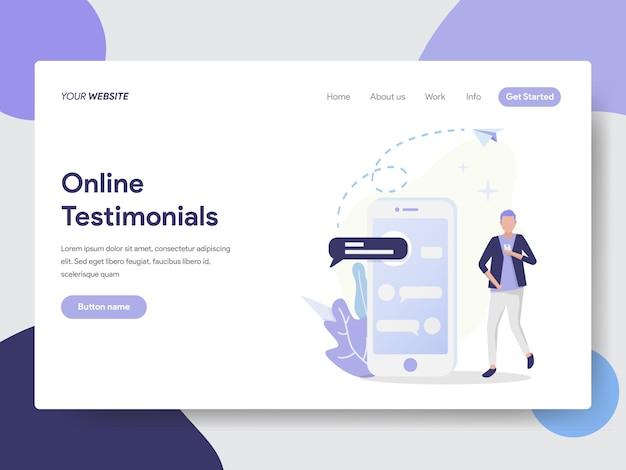 Online-testimonials-illustration für website-seite