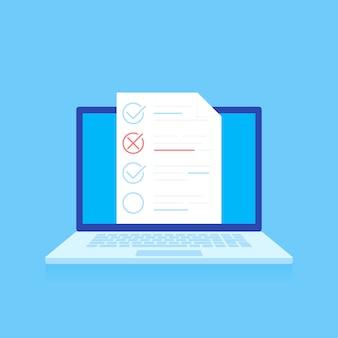 Online-tests, e-learning, isometrische bildungskonzept.