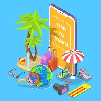 Online-tour suche flache isometrische illustration.