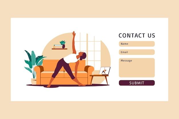 Online-trainingskonzept. kontaktieren sie uns vorlage für das web. frau, die zu hause yoga macht. anschauen von tutorials auf einem laptop. sportliche betätigung in einem gemütlichen interieur. illustration. eben.