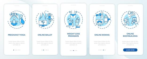 Online-trainingsprogramme auf dem bildschirm der mobilen app-seite mit konzepten. yoga, gewichtsverlust, ballett-schritte. ui-vorlage mit rgb-farbe