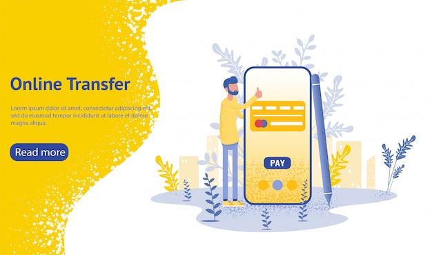 Online-transfer hintergrund mit der hand halten smartphone und drücken sie senden-taste