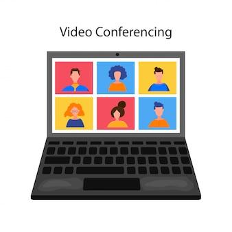 Online-treffen mit kollegen oder freunden auf dem laptop. arbeit von zu hause aus, kommunikation, webinar, digitale diskussion im team. remote-online-arbeit. video-chat-konferenz.