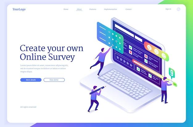 Online-umfrage-banner-service zum erstellen von webformularen für umfrage-checklisten oder quiz-vektor-landingpage von ...