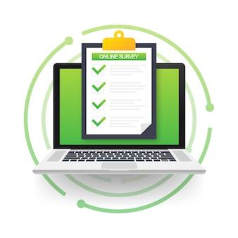 Online-umfrage, checkliste, fragebogensymbol. laptop, computerbildschirm. feedback geschäftskonzept.