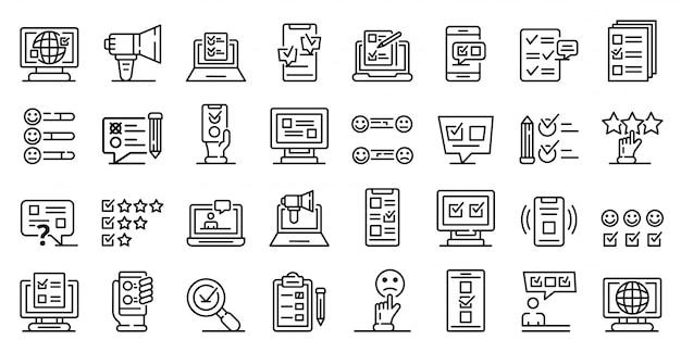 Online-umfrage icons set, umriss-stil
