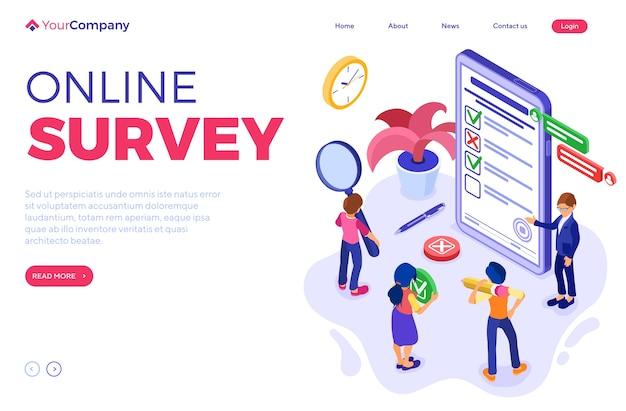 Online-umfrage mit isometrischen zeichen. feedback online-chat. fragebogenformular vom telefon. umfrageforschung. zielseitenvorlage. isometrisch