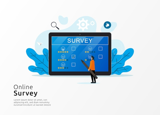 Online-umfrage mit mann, der riesiges tablettbildschirmsymbol prüft