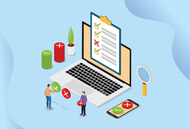 Online-umfrage-technologiekonzept mit menschen und laptop