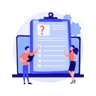 Online-umfrageanalyse. elektronische datenerfassung, digitales recherchetool, computergestützte studie. analyst berücksichtigt feedback-ergebnisse und analysiert informationen.