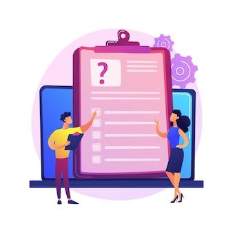 Online-umfrageanalyse. elektronische datenerfassung, digitales recherchetool, computergestützte studie. analyst berücksichtigt feedback-ergebnisse und analysiert informationen