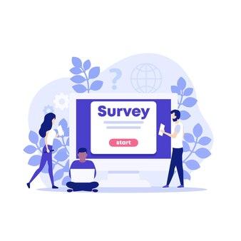 Online-umfrageillustration mit menschen