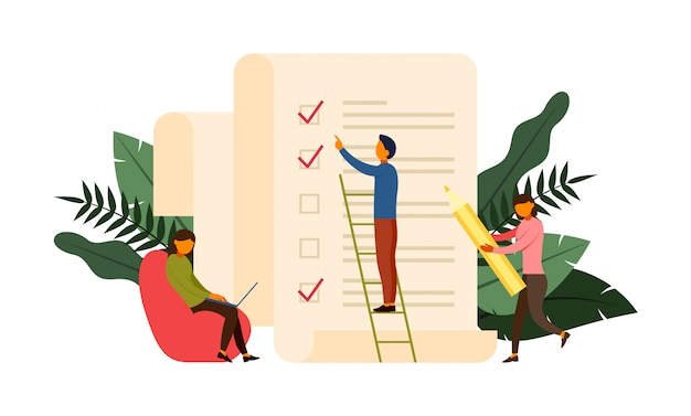 Online-umfragekonzeptkonzept mit charakterillustration