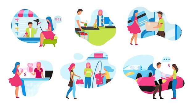 Online- und shop-shopping-flat-konzept-icons setzen illustration