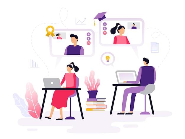 Online-unterricht im flat design