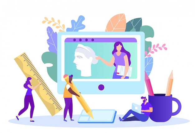 Online-unterricht über kunst und zeichnen