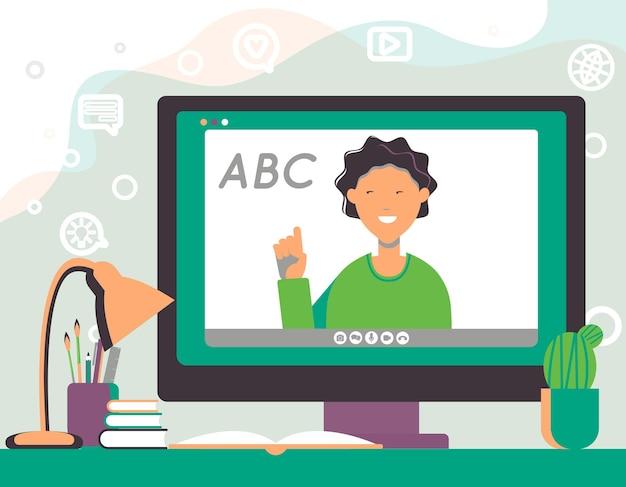 Online-unterricht, videoanruf, fernkommunikation, fernlernen, lernen von zu hause aus. quarantäne. flache vektorillustration. design-elemente