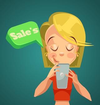 Online-verkauf. frau, die im telefon schaut. nacht online-verkauf. online-telefonrabatte.