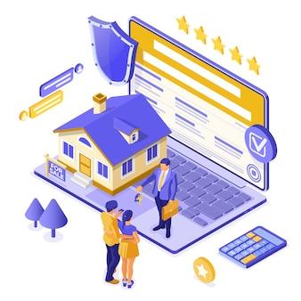 Online-verkauf, kauf, miete, hypothekenhaus isometrisches konzept für landung, werbung mit haus, laptop, makler, schlüssel, familie investiert geld in immobilien. isoliert