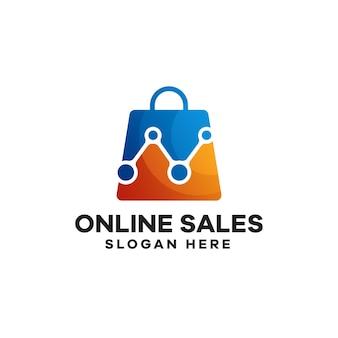 Online-verkauf logo-design mit farbverlauf