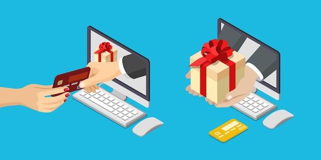 Online-verkauf zahlung lieferung e-commerce-konzept