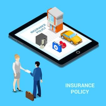 Online versicherungskonzept. versicherungsdienstleistungen - hausversicherung, autoversicherung, krankenversicherung, geldversicherung. isometrische menschen