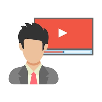 Online-video. der mann vor der videoübertragung. menschen-symbol im flachen stil. vektor-illustration