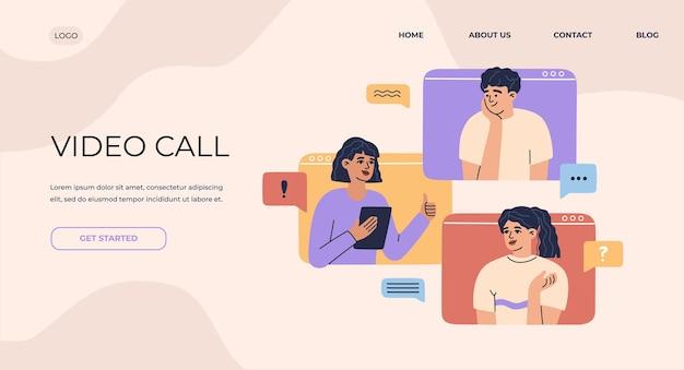 Online-videoanruf-banner, virtuelle konferenz mit team von remote-mitarbeitern, computerbildschirm, gruppe von männern und frauen treffen sich und arbeiten von der startseite aus. abstrakter hintergrund der vektorillustration.