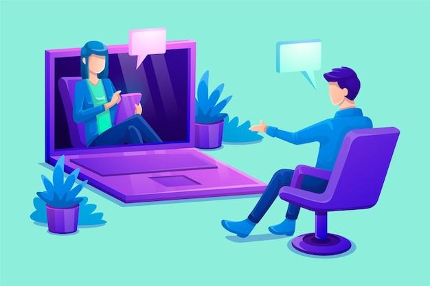 Online-videoanruf mit dem therapeuten